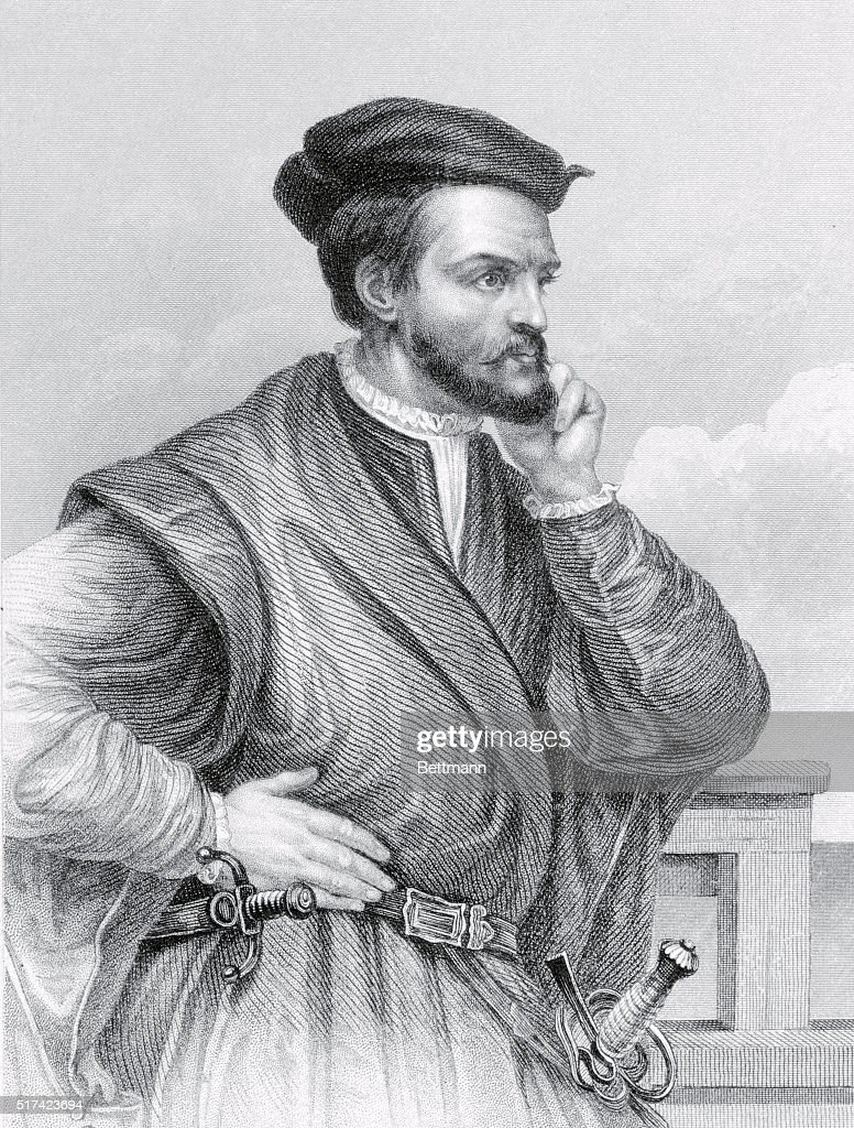 Drawing of Explorer Jacques Cartier in Pensive Position : ニュース写真
