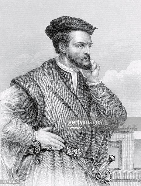"""Jacques Cartier, The Discoverer of Canada, 1534. Jacques Cartier, . French sailor and explorer best known as the """"Discoverer"""" of the St. Lawrence..."""