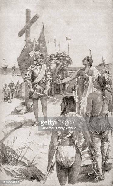 Jacques Cartier the French navigator and explorer 1491 – 1557, taking possession of the coast on the Gaspé Peninsula, Quebec, Canada in 1534. From...