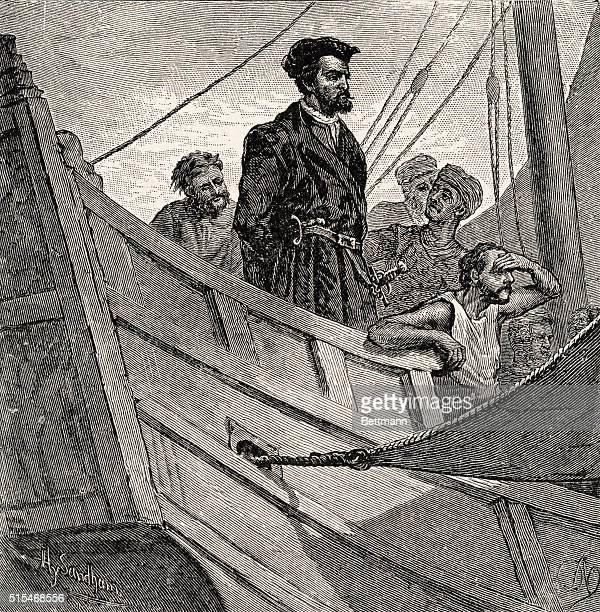 Jacques Cartier, , went on voyages to North America , surveying the coast of Canada and St. Lawrence River.