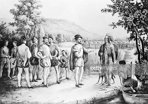Jacques Cartier's first interview with the indians at Hochelaga in 1535 Lithograph