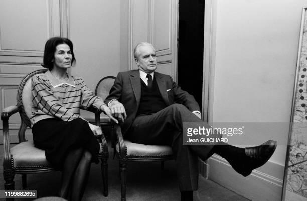 Jacques ChabanDelmas et sa femme Micheline attendent les résultats des elections législatives à la mairie de Bordeaux le 16 mars 1986 France