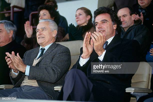 Jacques ChabanDelmas mayor of Bordeaux with Alain Afflelou the new President of Girondins de Bordeaux in the stands of Le Parc Lescure