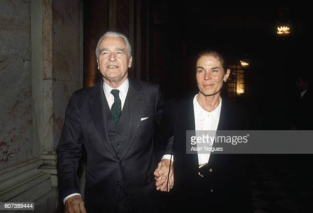 Jacques ChabanDelmas president of the Action Committee for Europe and his wife Micheline attend a reception for Russian president Boris Yeltsin at...