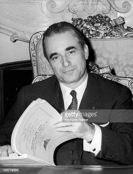 Jacques ChabanDelmas The Deputy Mayor Of Bordeaux Pictured In His Office Of President Of The National Assembly At The Hotel De Lassay Reading The...