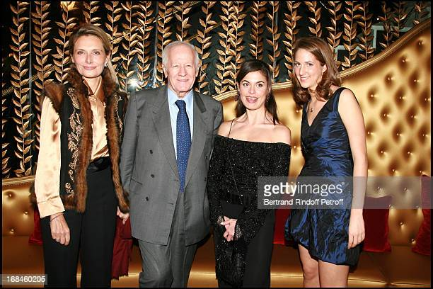 Jacques Chancel and his wife and daughter Marie Alixe Vignau Chancel and Joy Desseigne - Opening of the luxury hotel Fouquet's Barriere on the Champs...