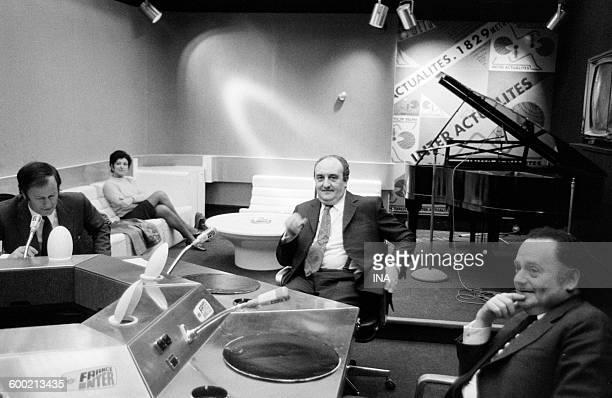 Jacques Chancel Pierre Tchernia and René Goscinny on the set of Radioscopy