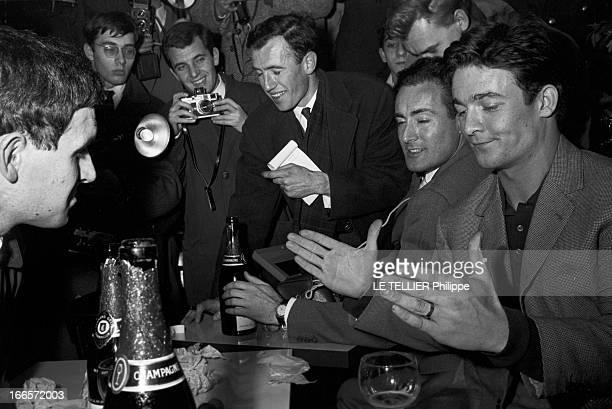 Jacques Charrier Paris Janvier 1960 Jacques CHARRIER fête la naissance de son fils Nicolas Il reçoit journalistes et photographes au Royal Passy