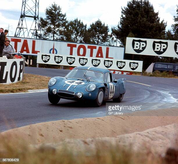 Jacques CheinisseJP Hanrioud's Renault Alpine at the Mulsanne Corner in the Le Mans 24 hours race France June 1966
