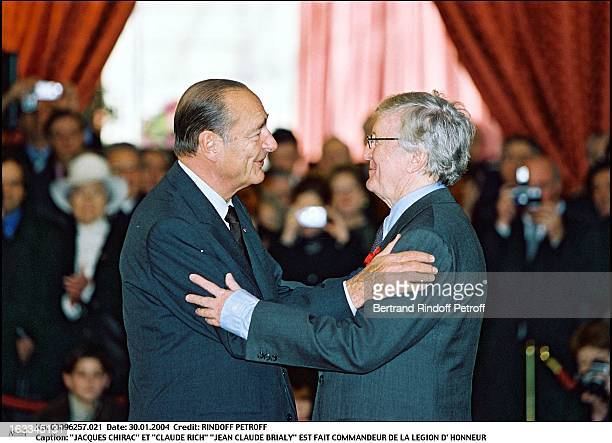 Jacques Chirac and Claude Rich Jean Claude Brialy is made commander of the Legion of Honor
