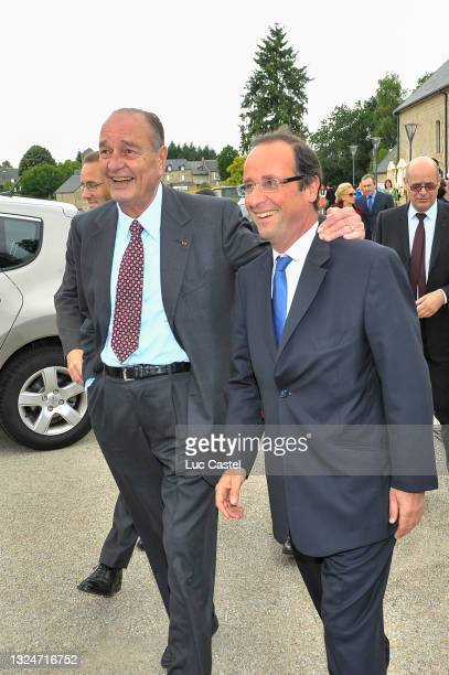 """Jacques Chirac and Francois Hollande visit the Exhibition """" Chine de Bronze et d'Or """" at Musee du President Jacques Chirac in Sarran on june 11..."""