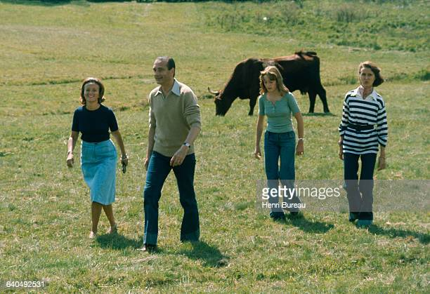 Jacques Chirac and his family on vacation in Correze. | Location: Bity, France.