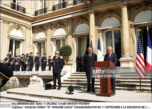 Jacques Chirac and Howard Learch commemoration of 11th of semptember at the residence of the ambassador of USA in France