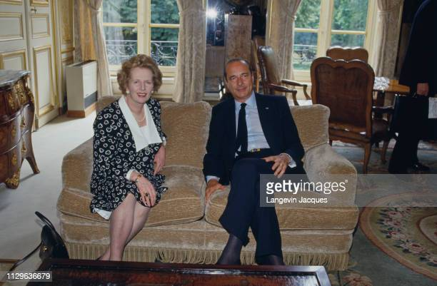 Jacques Chirac and Margaret Thatcher in Matignon for the signing of a contract for work on the Channel Tunnel