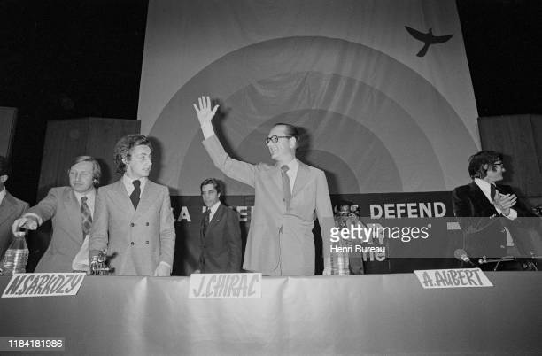 Jacques Chirac and Nicolas Sarkozy during a meeting of the UDR party in Paris, 22nd June 1976