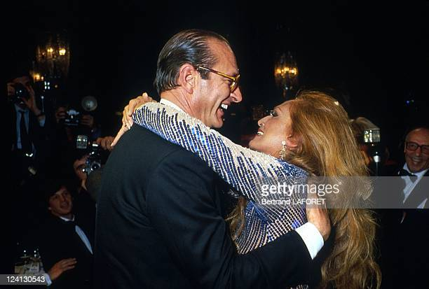 Jacques Chirac and singer Dalida at Loulou Gaste's birthday in Paris, France in March 1983.