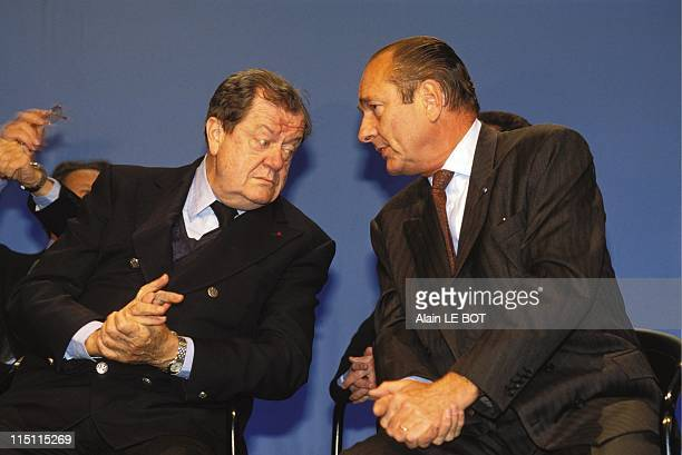 Jacques Chirac campaigning in LoireAtlantique department in Nantes France on February 03 1993 With Olivier Guichard