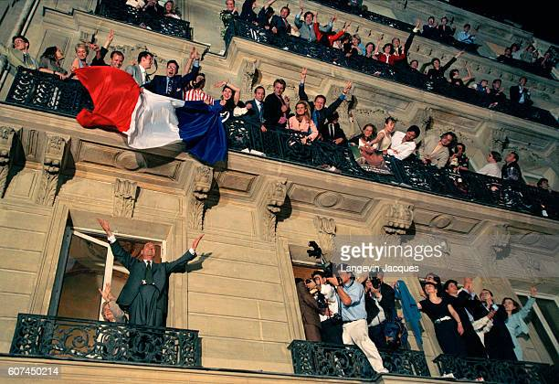 Jacques Chirac celebrates his recent victory in the French Presidential elections in what was his third bid for the post