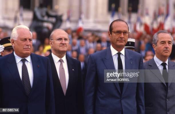 Jacques Chirac et Edouard Balladur pendant la cérémonie à Paris France le 25 août 1986