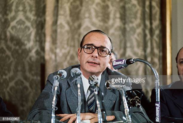 Jacques Chirac, former French Prime Minister is shown here in this closeup at a news conference.