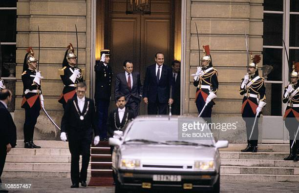Jacques Chirac hands over office to Michel Rocard in Paris France on May 10th 1988