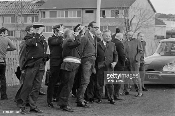 Jacques Chirac inaugurates in Saint Flour a monument in honor of the former French president, Georges Pompidou, 13th November 1975