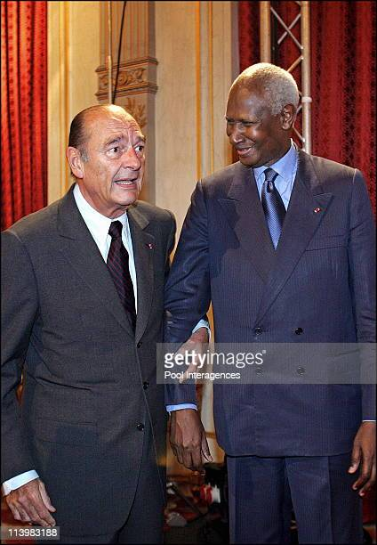 Jacques Chirac inaugurates the Frenchspeaking festival at the Elysee Palace In Paris France On January 17 2006 French President Jacques Chirac poses...