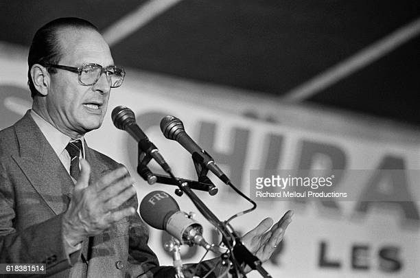 Jacques Chirac leader of the Rassemblement pour la Republique speaks during a campaign trip in Brittany before the 1981 French presidential elections...