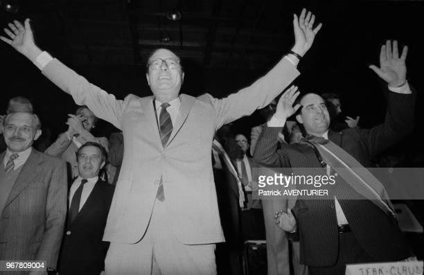 Jacques Chirac lors des élections législatives à Aulnay-sous-Bois le 24 octobre 1983, France.