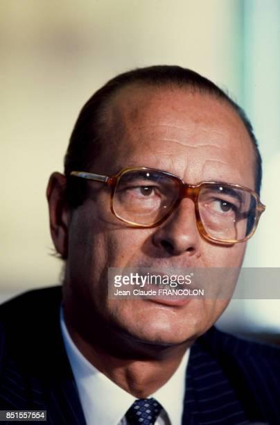 Jacques Chirac lors d'une conférence de presse le 8 juillet 1983 à Paris France
