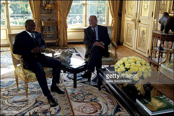 Jacques Chirac Meets Joseph Kabila At The Elysee Palace On September 9Th 2002 In Paris France