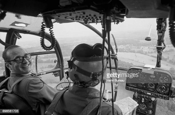 Jacques Chirac, Minister of the Interior, during a helicopter flight over Meymac, in Corrèze, France, June 1974.