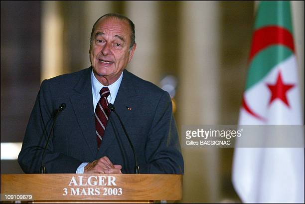 Jacques Chirac On ThreeDay Visit To Algeria Press Conference At The Palais Des Nations In Algiers On March 3Rd 2003 In Algiers Algeria