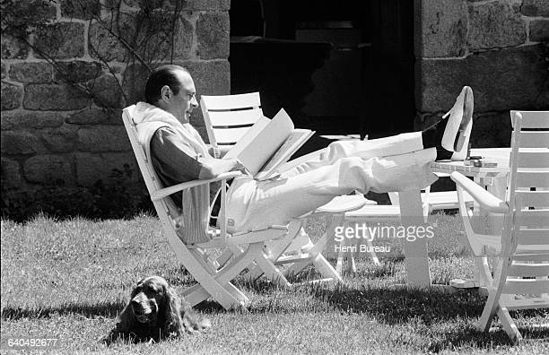 Jacques Chirac on vacation in his Correze home. | Location: Bity, France.