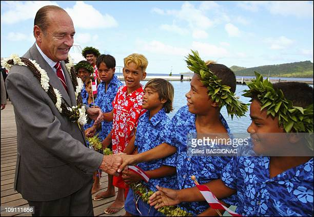 Jacques Chirac On Visit To Bora Bora On July 28 2003 In France President Chirac And Gaston Flosse Received By Mayor Gaston Tong Sang And Greeted By...