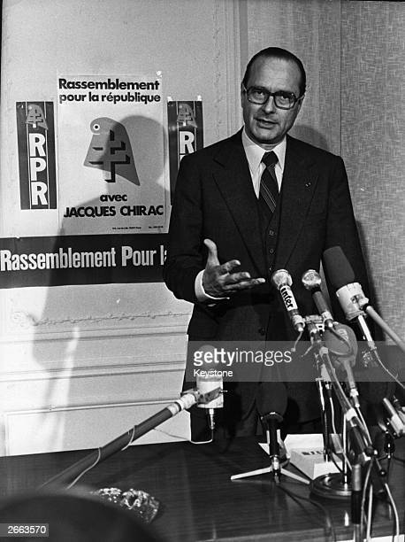 Jacques Chirac President of the RPR party giving a campaign speech