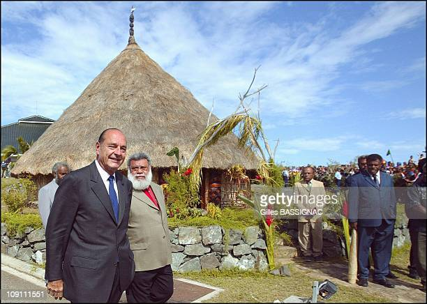 Jacques Chirac Pursues Visit To New Caledonia In Kone Where He Received The Traditional Greetings And Was Received By Paul Neaoutyine President Of...