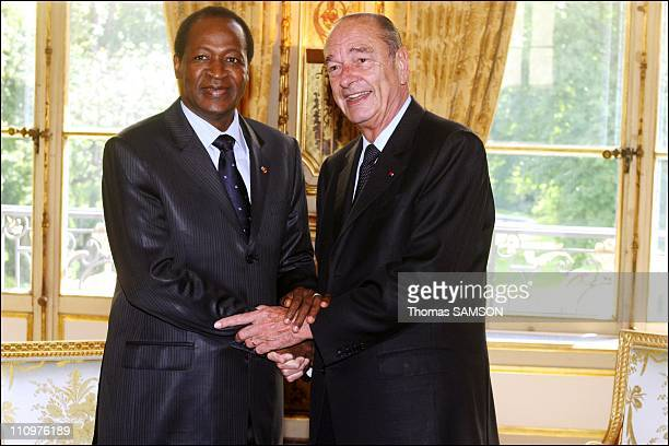 Jacques Chirac receives Burkina Faso Blaise Compaore at the Elysee Palace - Jacques Chirac and Blaise Compaore in Paris, France on June 02nd, 2006.