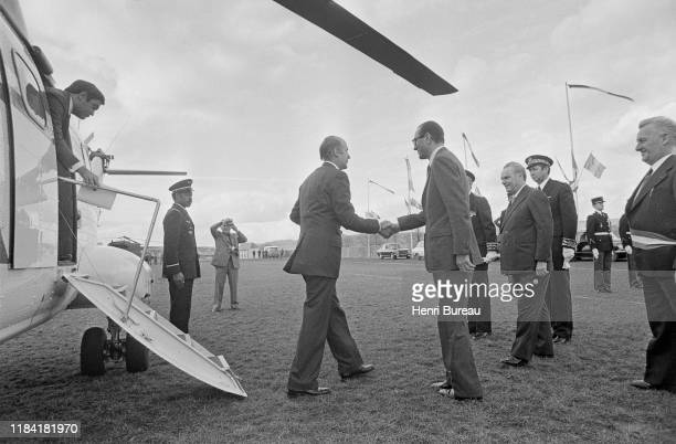 Jacques Chirac receives French president Valery Giscard d'Estaing, to inaugurate a monument in honor of the former French president, Georges Pompidou...