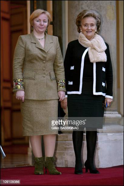 Jacques Chirac Receives Russian President Vladimir Poutine At The Elysee Palace On October 2Nd 2003 In Paris France Left To Right Ludmila Poutine And...