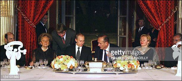 Jacques Chirac receives Russian President Vladimir Putin in Paris, France on February 10, 2003- After their joint press conference, President Jacques...