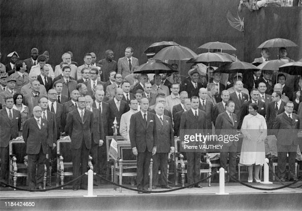Jacques Chirac, simone Veil, and the whole government of Valery Giscard d'Estaing during the 14th July parade, Paris, 14th July 1976