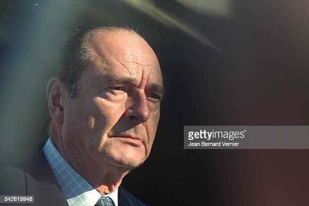 Jacques Chirac sur la base aerienne de Istres.