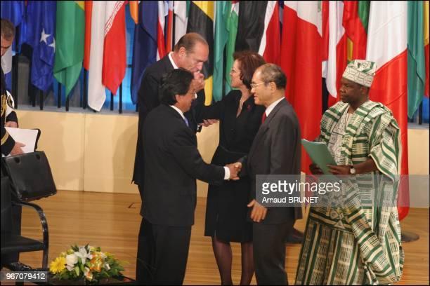 Jacques Chirac UNESCO executive council president Aziza Bennani UNESCO director general Koichiro Matsuura Alejandro Toledo and the conference's...