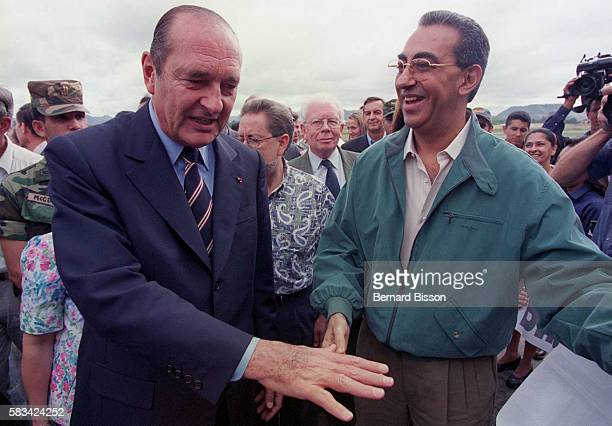 Jacques Chirac visits devestated quarter of Primavera with his counterpart Carlos Roberto Flores