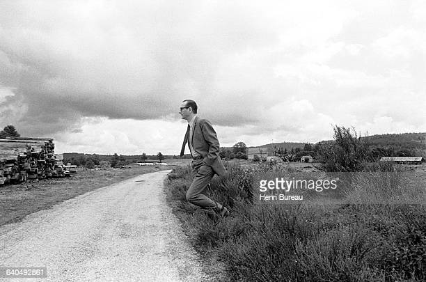 Jacques Chirac walks in the Correze countryside. Chirac became Prime Minister in May 1974. | Location: Meymac, France.