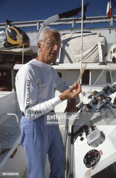 Jacques Cousteau oceanographer seen here aboard ship Moulin a Vent>