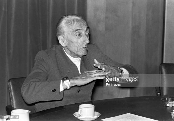 Jacques Cousteau the French diver and naturalist addressing a press conference about the fprthcoming BBC TV programme a series called 'The Undersea...