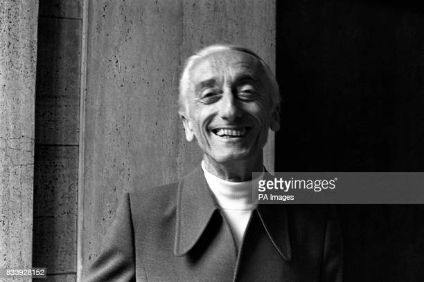 Jacques Cousteau the French diver and naturalist at a press conference about the forthcoming BBC TV programme a series called 'The Undersea World of...