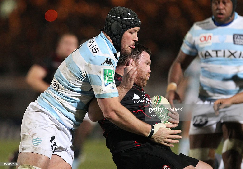Jacques Cronje of Racing Metro 92 tries to steal the ball during the European Cup match between Racing Metro 92 and Edinburgh Rugby at the Stade Yves du Manoir on December 8, 2012 in Colombes nearby Paris, France.